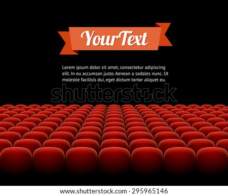 red cinema, theatre seats  isolated on black background - stock photo