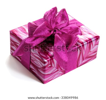 red gift box decorated with bow isolated on white - stock photo
