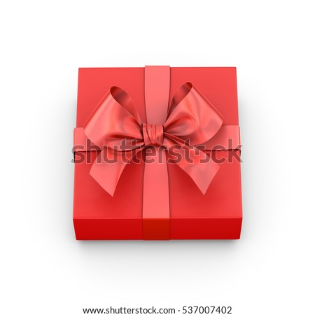 red gift box ribbon top view white background for Christmas and New Year's Day 3d rendering