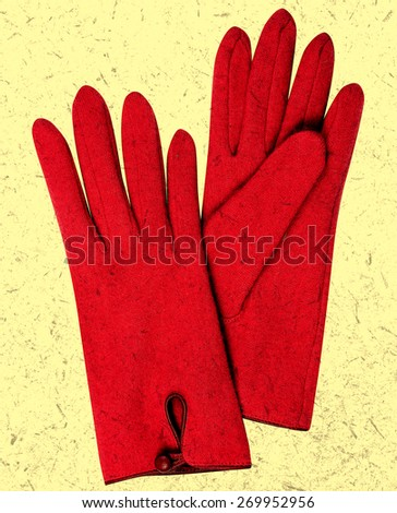 Red gloves. Retro, aged photo. - stock photo
