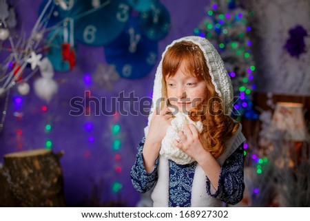 red-haired girl, 6 years old,   christmas, studio portrait - stock photo