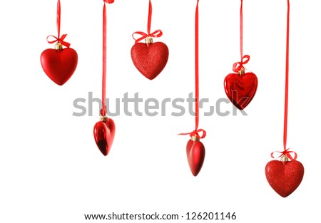 red hearts on ribbon