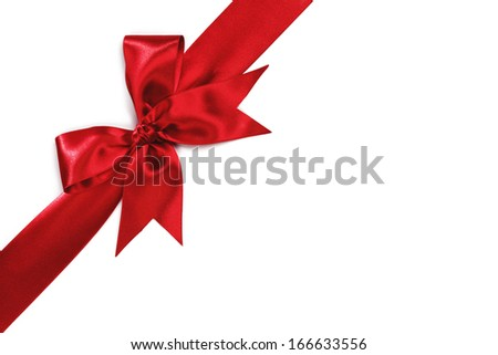 Red holiday bow isolated on white background - stock photo