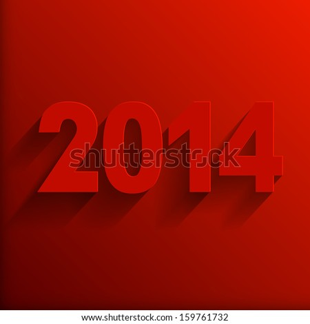 2014  Red Paper Origami  card or background.