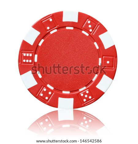 red poker chip - stock photo