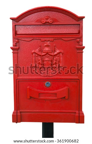 Red Post Box isolated on white - stock photo