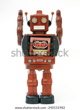 red retro robot toy  - stock photo