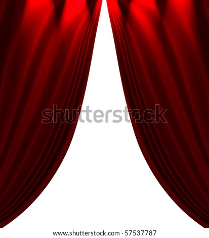 Red Satin Drapes Isolated On White - stock photo