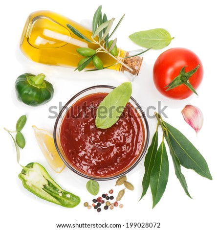 Red  sauce and the ingredients ( olive oil, spices, lemon, tomato), isolated on white. View from above.  - stock photo