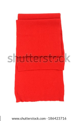 Red scarf isolated on white background. - stock photo