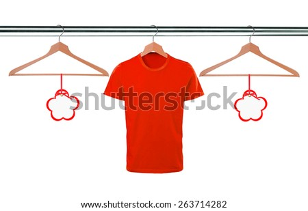 red t-shirts on hangers and blank tags isolated on white background - stock photo