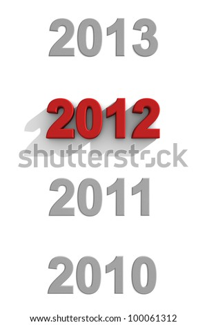 2012 red text in a sequence of other years - stock photo