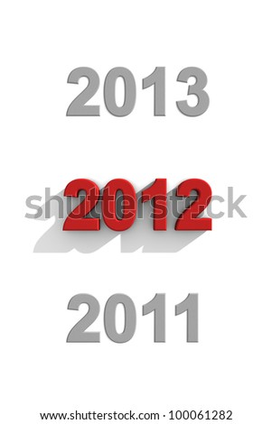 2012 red text in a sequence 2012 red text in a sequence of other years - stock photo