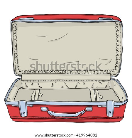 red Vintage Luggage &  Suitcases  Open is the an empty cute  illustration - stock photo