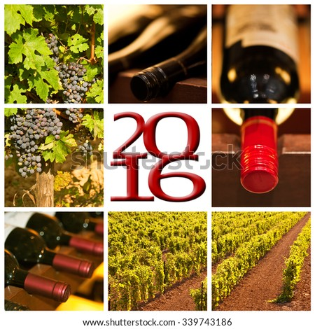 2016 red wine square photos collage greeting card - stock photo