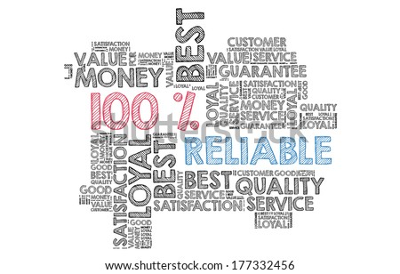 100% Reliable in word cloud - stock photo