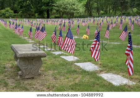 """Remembering"" -- Flags line gravestones at a Veteran's Cemetery. - stock photo"