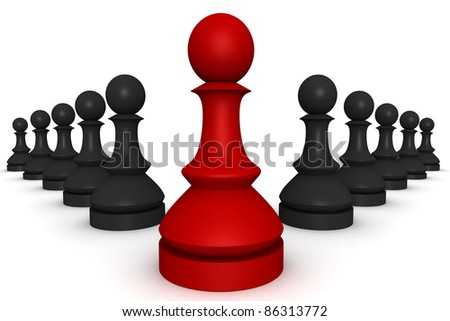 render of many pawns - stock photo