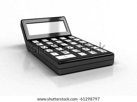rendering of  black calculator , on white background - stock photo
