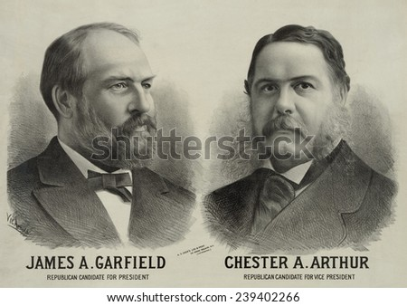 1880 Republican campaign poster with portraits of James A. Garfield, Republican candidate for president, and Chester A. Arthur for vice president. - stock photo