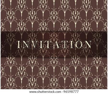 Retro brown invitation card - stock photo