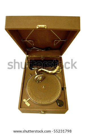 retro gramophone old style isolated... - stock photo