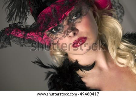 Retro lady. Beautiful woman in the bonnet - stock photo