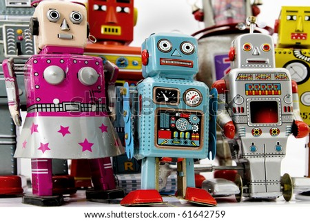 retro robot group - stock photo