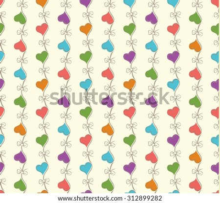 retro seamless pattern with colorful hearts. can be used for wallpaper, fills, web page, surface textures. raster version - stock photo