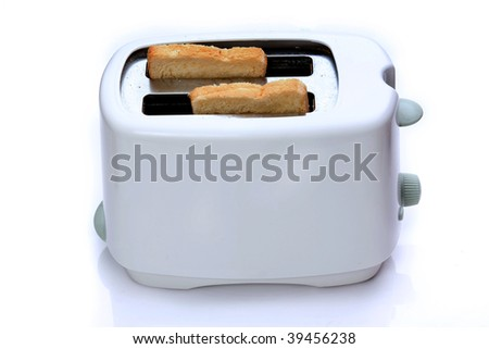 Retro toaster and a toasted slice of bread isolated on white with clipping path - stock photo