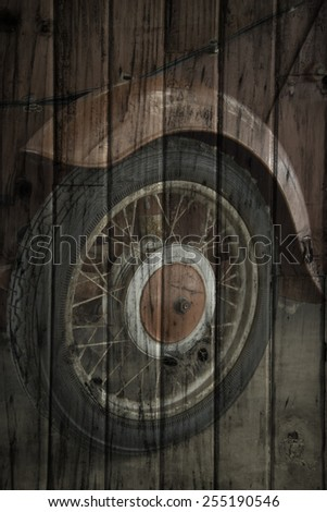 """""""retro toy car detail"""" Mural. The wood painting  concept - stock photo"""