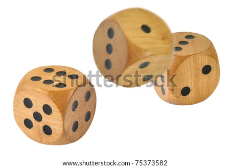 3 Retro wooden dice, 1 dice has just been thrown - stock photo