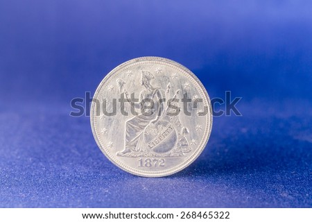 Reverse of silver trade dollar coin from 1872 - stock photo