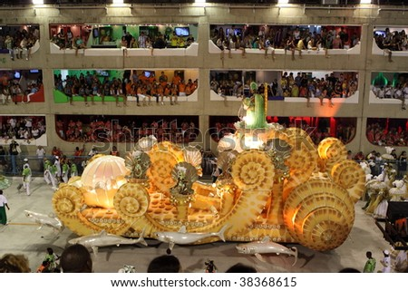 RIO DE JANEIRO - FEBRUARY 22: A huge float was shown in the Rio Carnival in Sambadome February 22, 2009 in Rio de Janeiro, Brazil. The Rio Carnival is the biggest carnival in the world. - stock photo