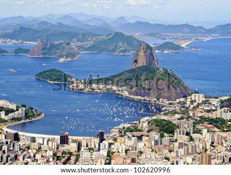 Rio de Janiero Brazil Sugarloaf Mountain aerial view from Corcovado - stock photo