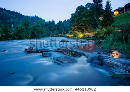 river in Carpathian mountains at night