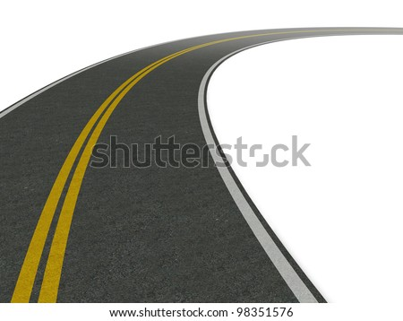 road leading into the turn. white background - stock photo