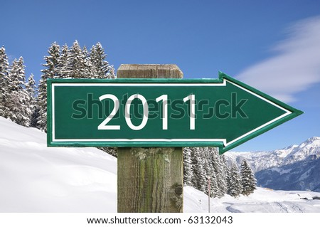 2011 road sign - stock photo