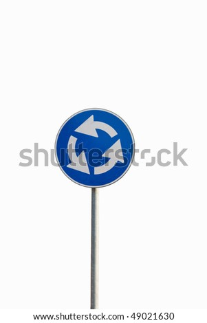 Road sign  isolated on white background - stock photo