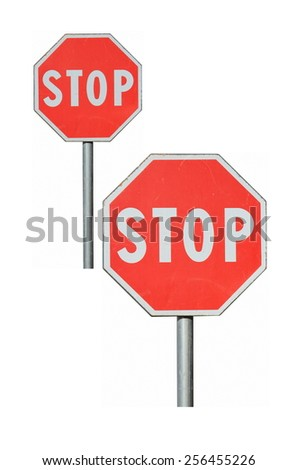 "road sign: ""Stop"" on a white background, various sizes - stock photo"