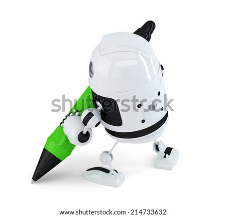 Robot writing with marker pen. Isolated on white. Contains clipping path - stock photo