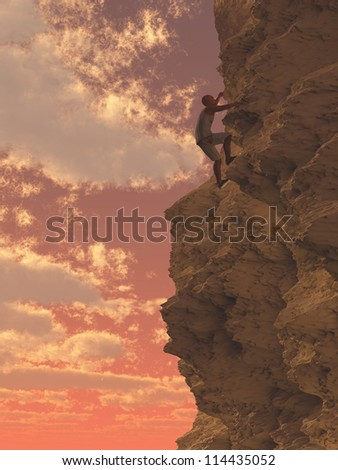 Rock Climber in sunset