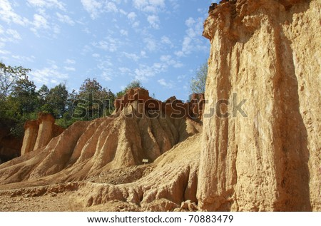 rock formations place, Phae Muang Phi in the small cloud blue sky - stock photo