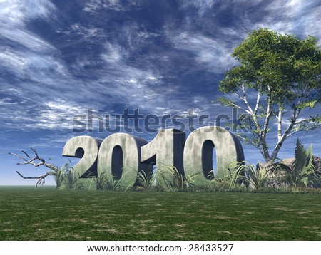 2010 rock on green field with birch and blue sky - 3d illustration