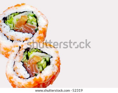 2 rolls of sushi - stock photo