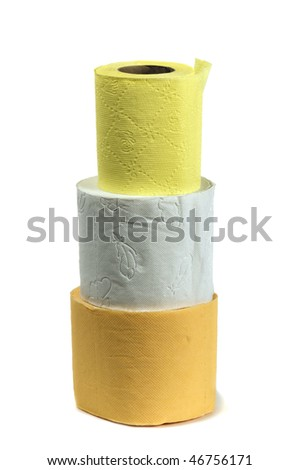 rolls of toilet paper, isolated on a white background - stock photo