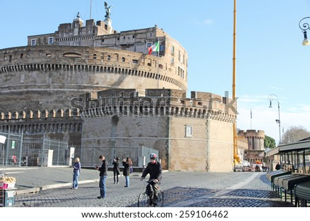 ROME ITALY-FEBRUARY 15: Castel Sant' Angelo on February 15, 2015 in Rome. - stock photo