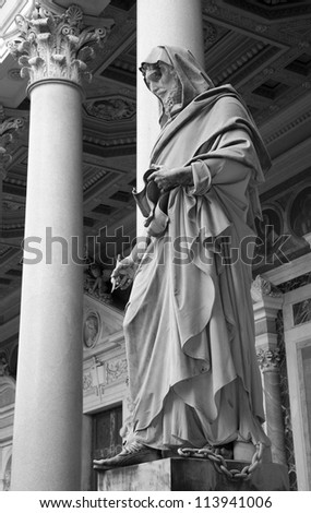 ROME, MARCH - 21: Detail of st. John the Evangelist statue in the atrium of st. Paul s basilica. March 21, 2012 in Rome, Italy
