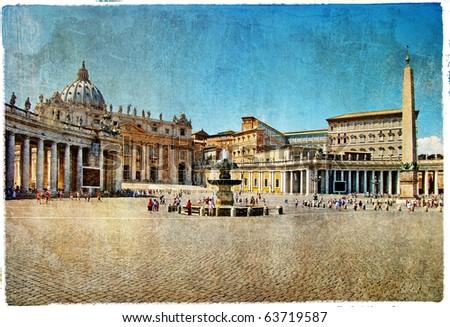 Rome,Vatican - artistic retro styled picture - stock photo