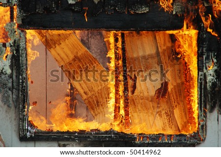 """""""Roof Collapse and Window Frame"""" Douglas County Fire District #2 Burn to Learn, Hwy 99S, near Roseburg OR - stock photo"""